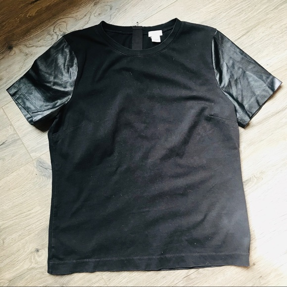 J. Crew Tops - Jcrew faux leather sleeves tee - size small